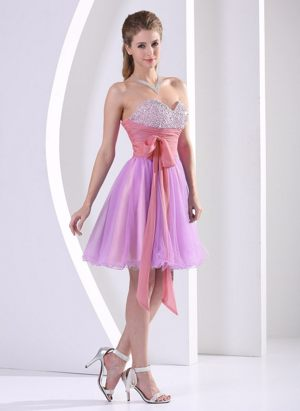 Multi-color Sweetheart Sash Knee-length Formal Bridesmaid Dresses