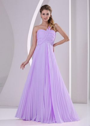 Pleated One Shoulder Ruches Lavender New Jersey Bridesmaid Dress