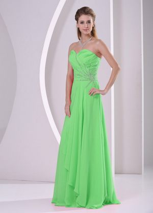 Graceful Sweetheart Beading Ruched Green Chiffon Bridesmaid Gown