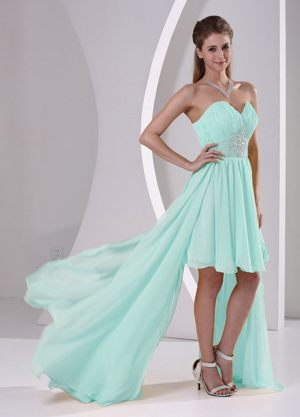 High-low Beaded Sweetheart Bridesmaid Dresses with Detachable Train