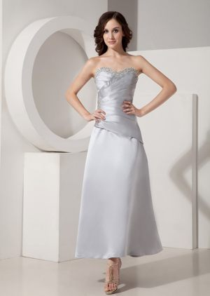 Satin Sweetheart Bead Ruche Ankle-length Las Vegas Bridesmaid Dress