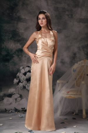 Halter Top Ruched Cool Back Champagne Satin Long Bridesmaid Gown