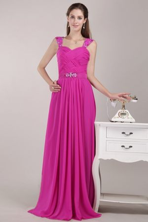 Hot Sale Beaded Straps Ruches Hot Pink Full Length Bridesmaid Gowns