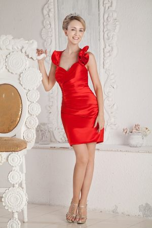 Backless Ruffled Halter Ruches Red Satin Mini-length Bridesmaid Dress