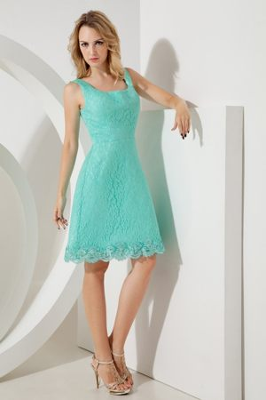 Square Neck Lace Turquoise East Hartford America Bridesmaid Dress