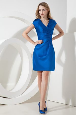 V-neck Short Sleeves Ruches Royal Blue Satin Short Bridesmaid Gown
