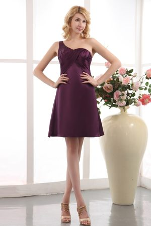 Purple One Shoulder Ruching Zipper-up Dubuque Bridesmaid Dresses