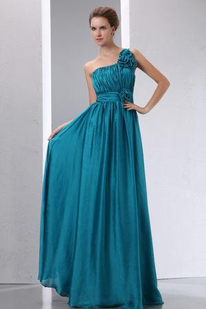 Handmade Flowers One Shoulder Ruched Teal Long Bridesmaid Gown