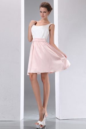 Mini-length Scoop Neck White and Pink Taffeta Garden Bridesmaid Dress