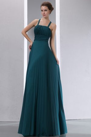 Criss Crossed Back Straps Pleated Peacock Green Bridesmaid Dresses