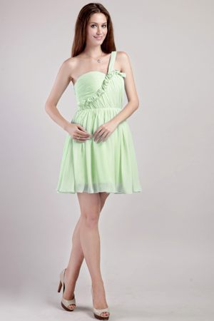 Ruffled One Shoulder Yellow Green Champaign USA Bridesmaid Dress