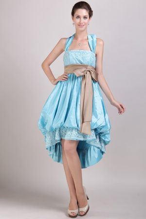 Puffy Halter Appliques Bowknot Aqua Blue High-low Bridesmaid Dress
