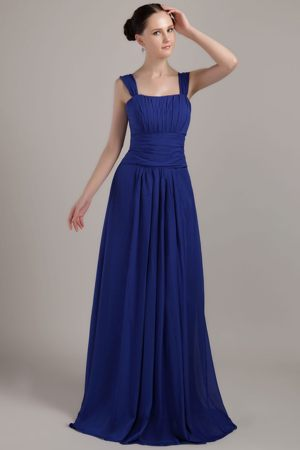 Brush Train Square Ruching Royal Blue Bridesmaid Kentucky Gowns