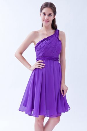 One Shoulder Ruches Knee-length Purple Chiffon Bridesmaid Dresses