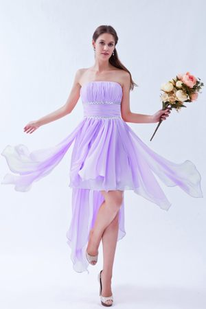 Asymmetrical Hem Strapless Beading Ruches Church Bridesmaid Dress