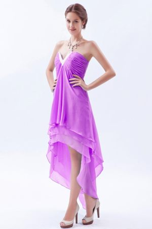 High-low V-neck Beading Ruched Beading Layers Bridesmaid Gowns