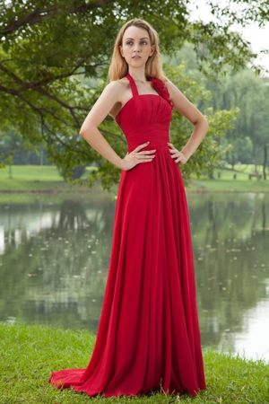 Halter Ruched Brush Train Red Bridesmaid Dress for Missoula Montana