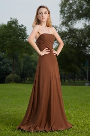 Brush Train Strapless Ruched Brown Chiffon Indiana Bridesmaid Dress