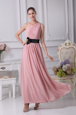 Sash One Shoulder Flower Ankle-length Pink Church Bridesmaid Dress