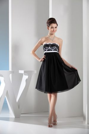 Lace Strapless Black and White Short Chiffon Garden Bridesmaid Gown