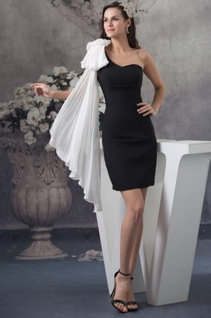 Montgomery Short One Shoulder Black Zipper-up Bridesmaid Gowns