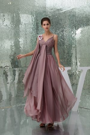 Burgundy Straps Flower Ruched Ankle-length Formal Bridesmaid Dress