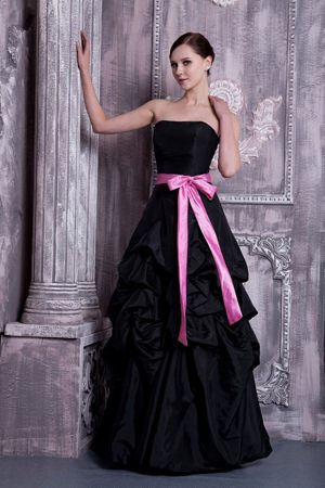 Black A-line Bridesmaids Gowns Embellished Pink Sash and Pick-ups