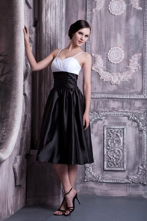 Formal White and Black Spaghetti Straps Ruche Dresses for Bridesmaids