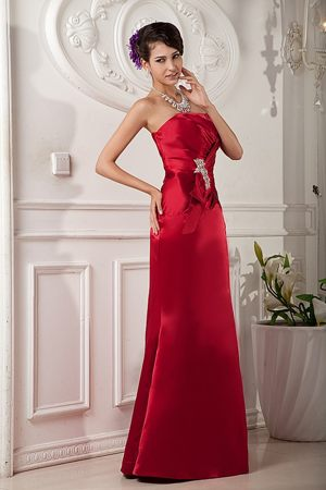Red Beading Maternity Bridesmaid Dresses in Column to Floor-length