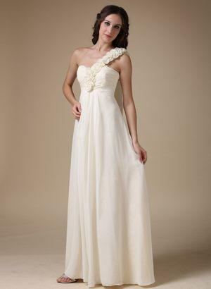 Grande Prairie Flowers White Empire One Shoulder Dresses for Bridesmaid