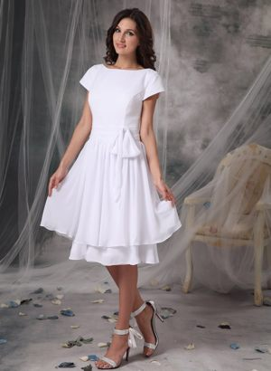 Empire Bateau Neckline for Short Dresses for Bridesmaid in Fredericton