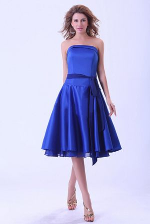 Royal Blue Bridemaid Dresses with Sash to Tea-length in Port Coquitlam