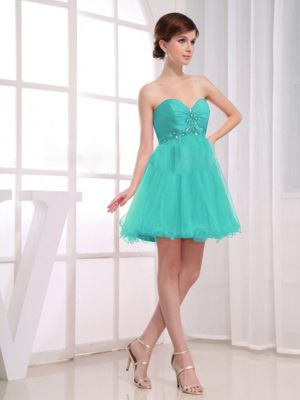 Sweetheart Ruching and Beading Short Dress for Bridesmaids in Aqua Blue