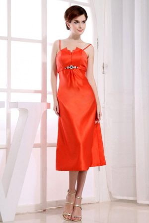 Caledon Spaghetti Straps Orange Red Dresses for Bridesmaid to Tea-length