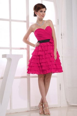 Sweetheart Ruffles Layers Dress and Black Sash for Bridesmaids in Red