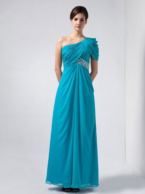 Turquoise One Shoulder with Short Sleeves Beading Bridesmaid Dress