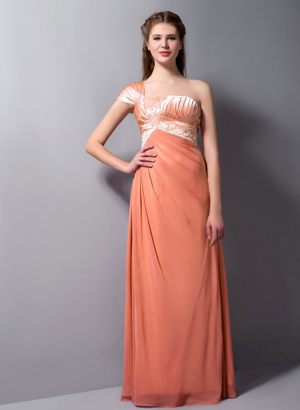 Orange One Shoulder with Cap Sleeves Beading Dress for Bridesmaids