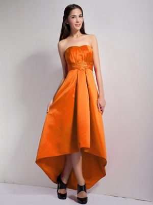Wood Buffalo Appliques Bridesmaids Gown in Orange Red and High-low