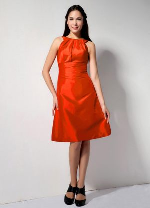 Orange Red Bateau Dresses for Bridesmaids Knee-length with A-line