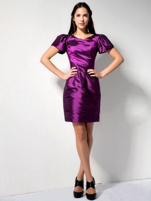 V-neck and Short Sleeves Dresses for Bridesmaid in Eggplant Purple
