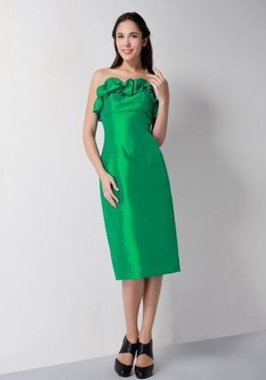 Green Strapless Tea-length Dresses for Bridesmaid in New Westminster