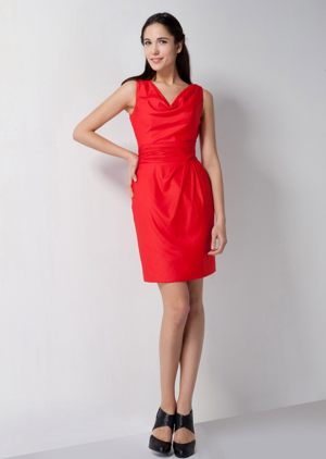 Red Straps with V-neck Mini Maternity Bridesmaid Dresses in Column