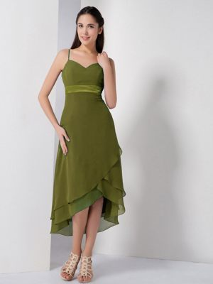 Olive Green Dresses for Bridesmaids with Spaghetti Straps in High-low