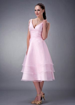 Baby Pink V-neck Dress for Bridesmaid with Ruched and Layers to Tea-length