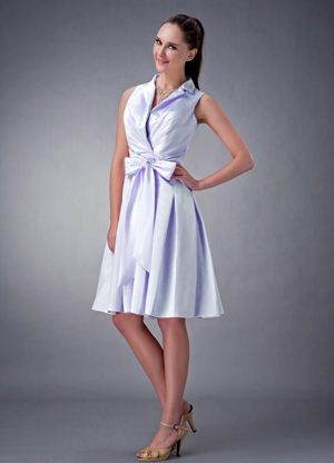 Lilac V-neck with Collar and Bow for Ruching Dresses for Bridesmaids
