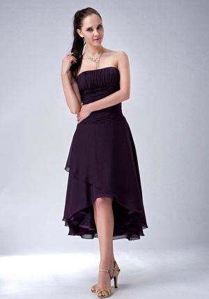 Purple Princess Ruched and Strapless Dresses for Bridesmaid in High-low