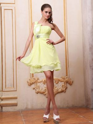 Sault Ste Yellow One Shoulder Maternity Bridesmaid Dress with Beading