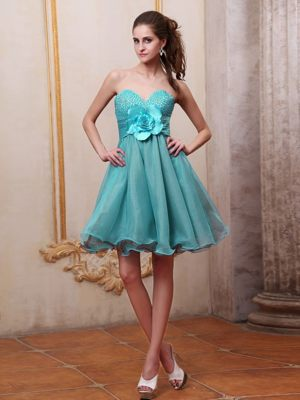 Aqua Blue Beading and Flower Maple Ridge Dresses for Bridesmaids