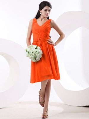 Straps with V-neck Ruched Orange Red Bridesmaid Dresses in Victoria