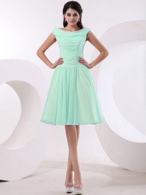 Bateau and Ruched Bodice for Dresses for Bridesmaids in Apple Green